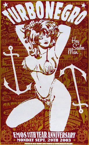 Billy Bishop Turbonegro Poster  Turbonegro     Emo's 11th Anniversary   9/29/2003   Artist: Billy Bishop: