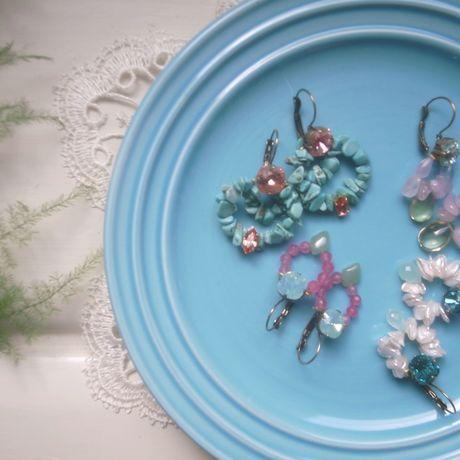 Swarovski crystal × Fresh Water Pearl ×Blue Chalcedony bijou pierced | La Belle Mer