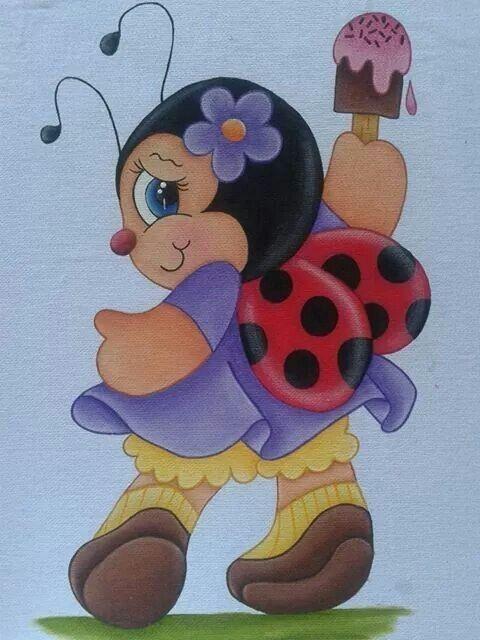 Pin De Lucinda Consul Em Ladybird Stuff Pintura Em Tecido