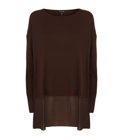Eileen Fisher Layered Batwing T-Shirt - pure silk with chiffon underlay