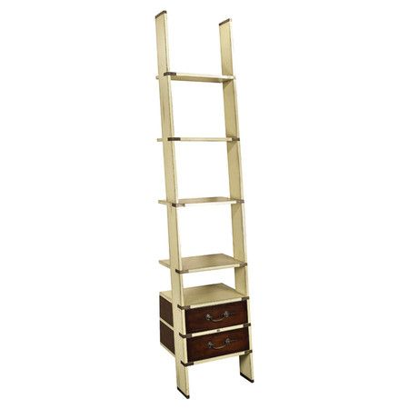 Perfect as a charming etagere in the den or convenient shelving in your home office, this classic library ladder showcases 2 drawers and inlaid brass hardwar...