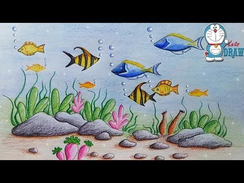 How To Draw A Barbie Mermaid At The Sea Step By Step Youtube Scenery Drawing For Kids Drawing Scenery Ocean Drawing