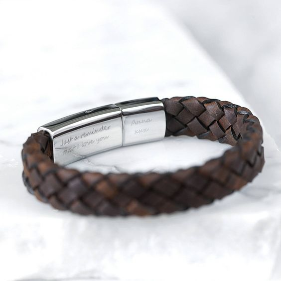 Mens Bracelet With Name Leather Braided Birthday Gifts For Him ETHAN