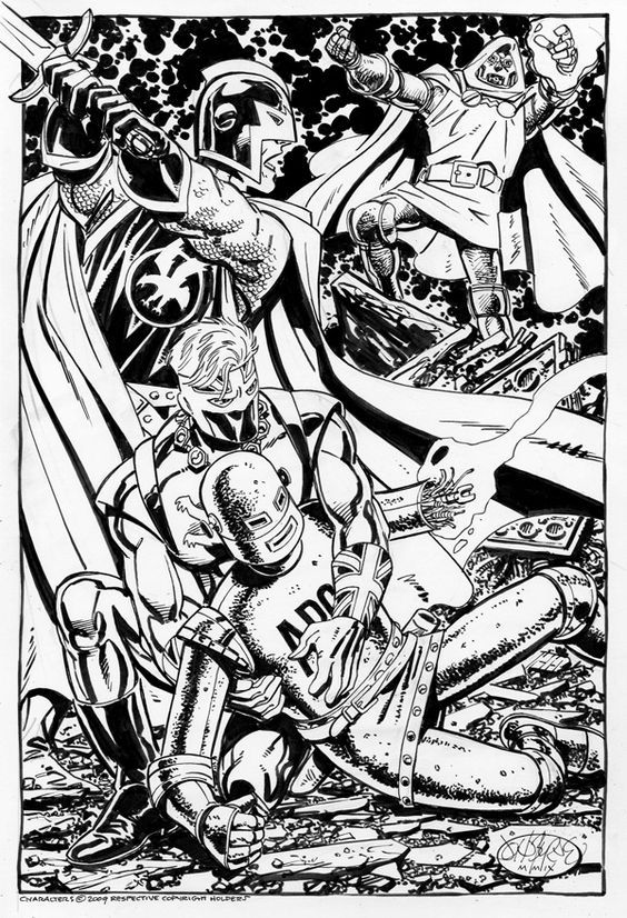 Doctor Doom vs Black Knight by John Byrne