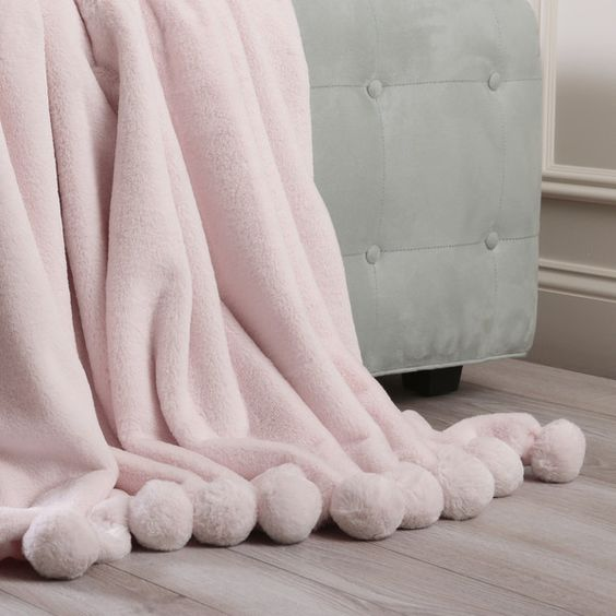 Luxe Pom Pom Polyester Throw Blanket Color: Light Pink ($92) ❤ liked on Polyvore featuring home, bed & bath, bedding and blankets