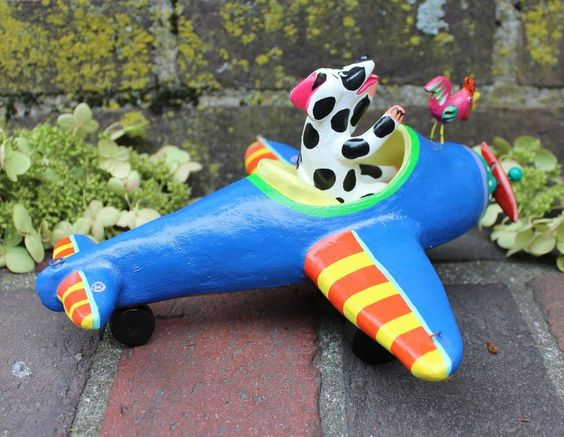 Dog, Rooster go flying in a plane! Playful Mexican folk art by Ortega Family   #handmade