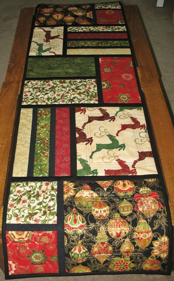 Christmas Table Runner Quilted from Kaufman Flourish Line Runners, Glasses and Patterns