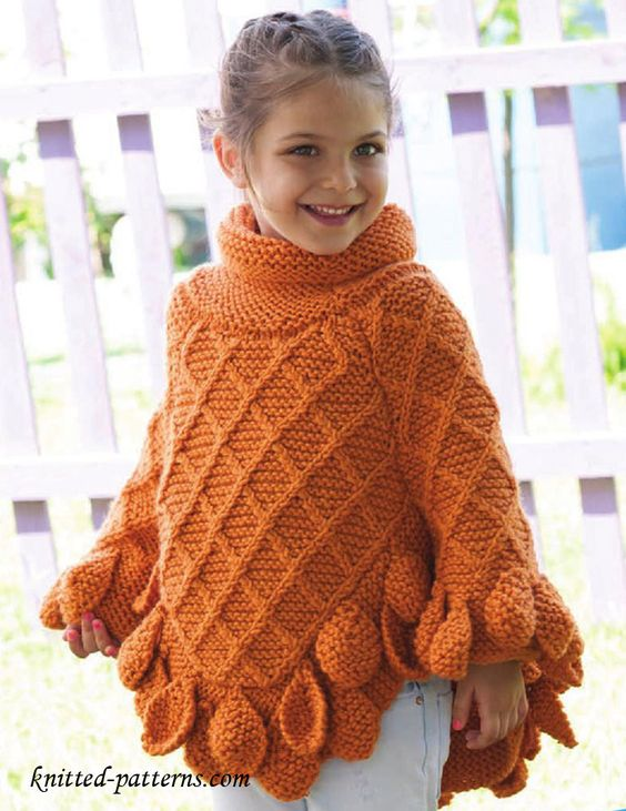 Free Knitting Pattern For Infant Poncho : Poncho pullover knitting pattern free Free knitting patterns Pinterest ...