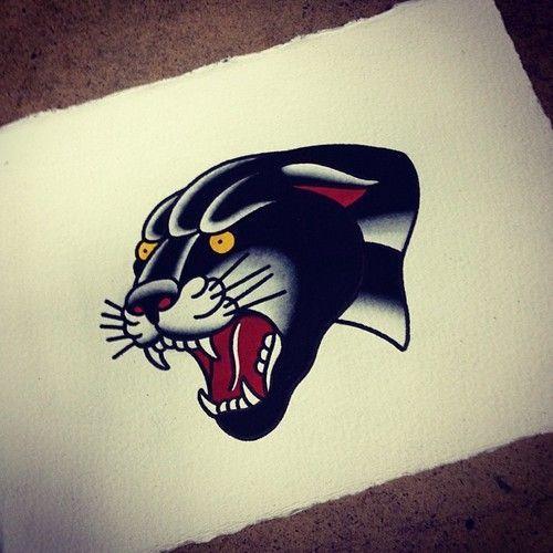 Arrgh old school panther tattoos pinterest panthers for Old school panther tattoo
