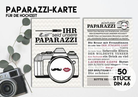 Hochzeitsgästebuch - 50 PAPARAZZI KARTEN für Eure Hochzeit Beige/Rot - ein Designerstück von KleineFabrik bei DaWanda