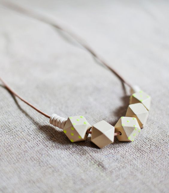 Wooden Boho Necklace / Beige  Neon Necklace / by BlueBirdLab, $25.00