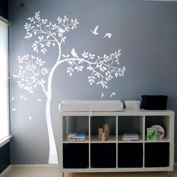 Huge White Tree Wall Decal Vinyl Sticker Birds Tree Baby Nursery Bedroom Wall Mural Kids Wall Sticker Wallpaper Home Decor A-157