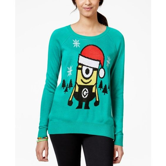 Hybrid Juniors' Minion Pullover Sweater ($20) ❤ liked on Polyvore featuring tops, sweaters, kelly green, pullover tops, party tops, kelly green top, holiday party tops and night out tops