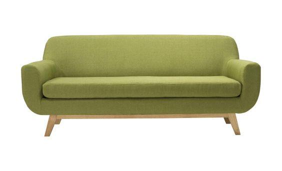 Canapé Oslo 3 places  en lin et bois, vert  195 x 81 x 80 cm