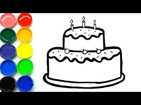 Menggambar Dan Mewarnai Kue Ulang Tahun Bagus Dan Gampang Untuk