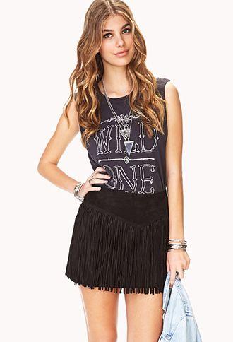 Out West Fringe Skirt | FOREVER 21 - 2000090821