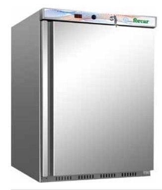 Armadio Frigorifero Refrigerato statico Eco Forcar Bassa temperatura struttura esterna in acciaio inox Temperatura° -18  -22°C CAPACITA' LT 130 Dim. cm L60XP58,5XH85,5 Modello EF200SS immagini