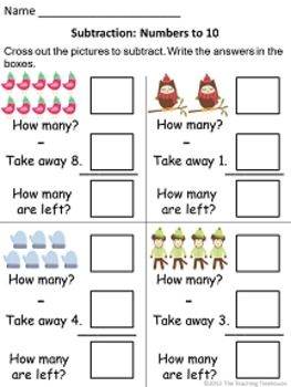 math worksheet : winter addition  subtraction within 10  subtraction worksheets  : Addition And Subtraction To 10 Worksheets