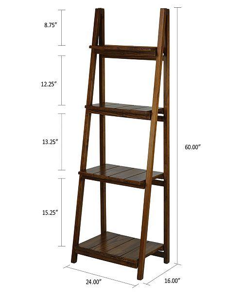Yu Shan Manhasset Slatted 4 Shelf Folding Bookcase Reviews Furniture Macy S With Images Ladder Shelf Decor Ladder Shelf Diy Bookshelves Diy