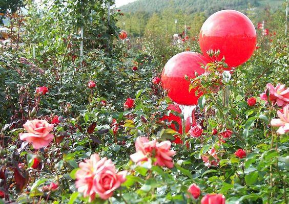 gartendeko gartendekoration glaskugeln rosenkugeln rotes glas, Gartenarbeit ideen