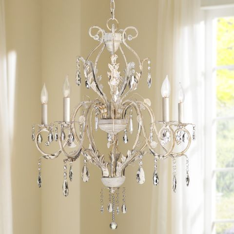 Kathy Ireland Devon 5 Light Antique White Crystal Chandelier