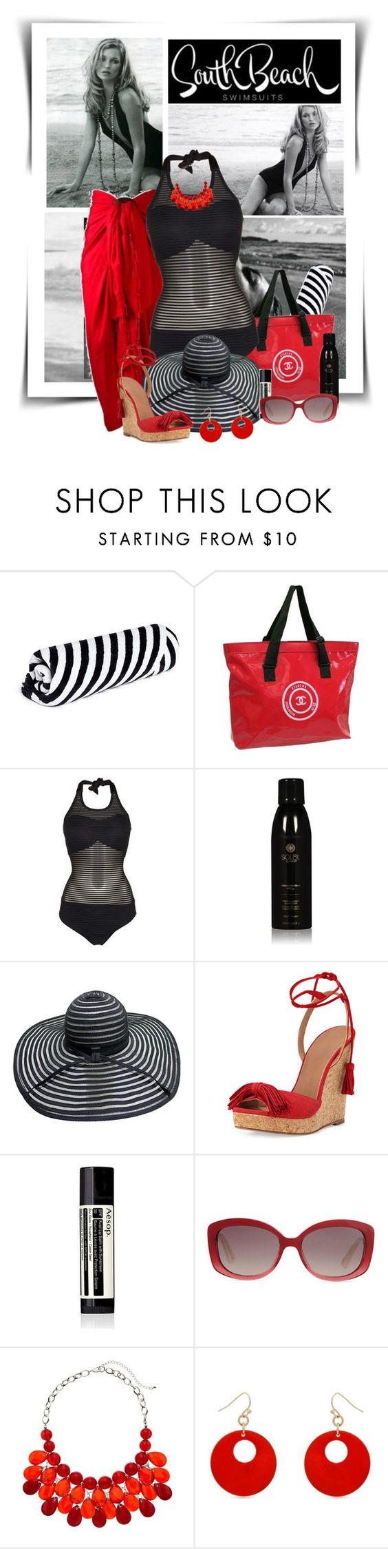 """Beach Fashion"" by diva1023 ❤ liked on Polyvore featuring The Beach People, Chanel, Biba, Soleil Toujours, Aquazzura, Aesop, Christian Dior and Erica Lyons"