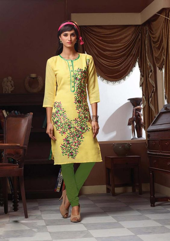 Shop Yellow Poly Linen Readymade Kurti 63919 online at best price from vast collection of designer kurti at Indianclothstore.com.