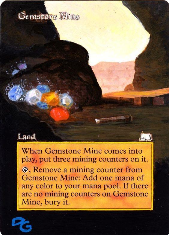 Altered art Gemstone Mine by DG www.squidoo.com/magic-the-gathering-altered-art-cards #mtg #magic #magicthegathering #alteredart