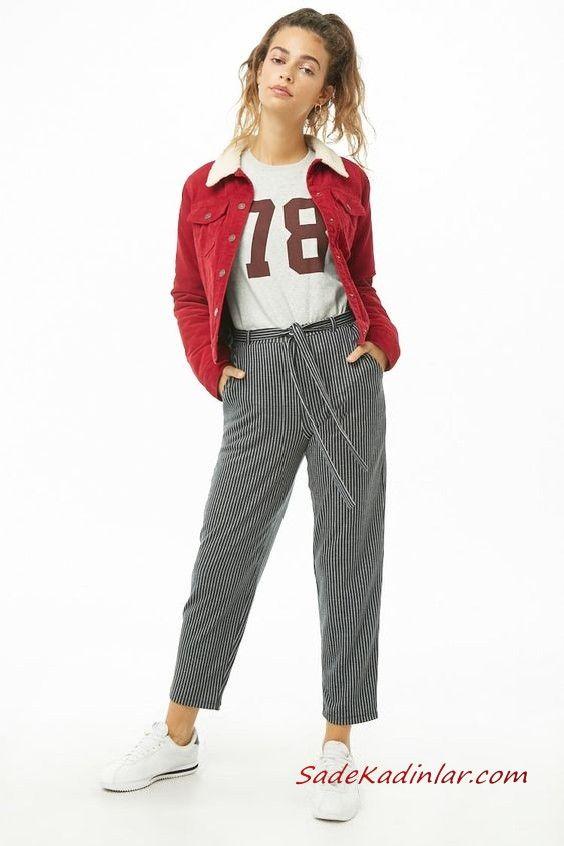 Bayan Pantolon Ceket Kombinleri Gri Cizgili Kumas Pantolon Gri Bluz Kirmizi Kadife Kisa Ceket Beyaz Spor Ayakkabi Pantolon Moda Moda Stilleri