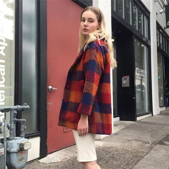 The Wool Top Coat in plaid just landed! #AmericanApparel #MadeInUSA #AAEmployees