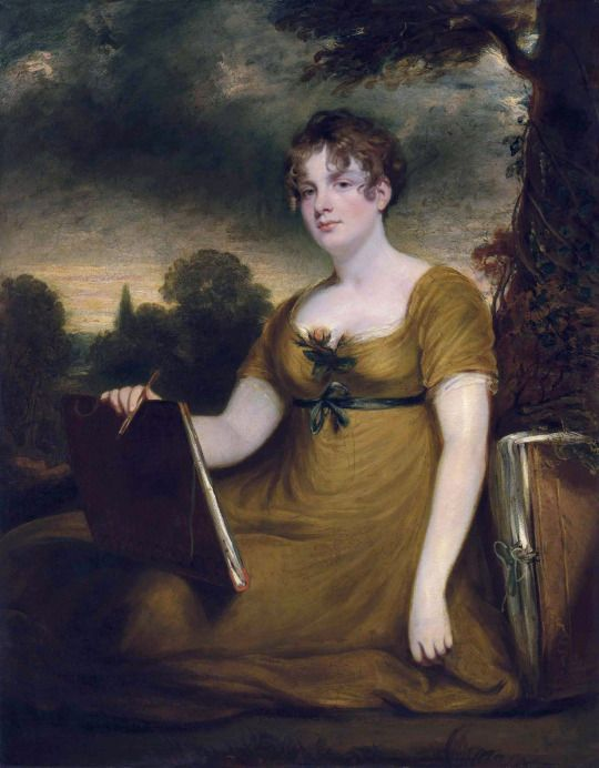 1811 Mary Anne Nugent-Temple-Grenville, Lady Arundell of Wardour, three-quarter-length, in a mustard dress, holding a portfolio and pen, leaning against a tree in a landscape. John Hoppner, R.A. (English, 1758-1810). Oil on canvas. Lord Arundell of Wardour married Mary Anne Nugent-Temple-Grenville, daughter of George Nugent-Temple-Grenville, 1st Marquess of Buckingham, and Mary Elizabeth Nugent, 1st Baroness Nugent, at Buckingham House, London.