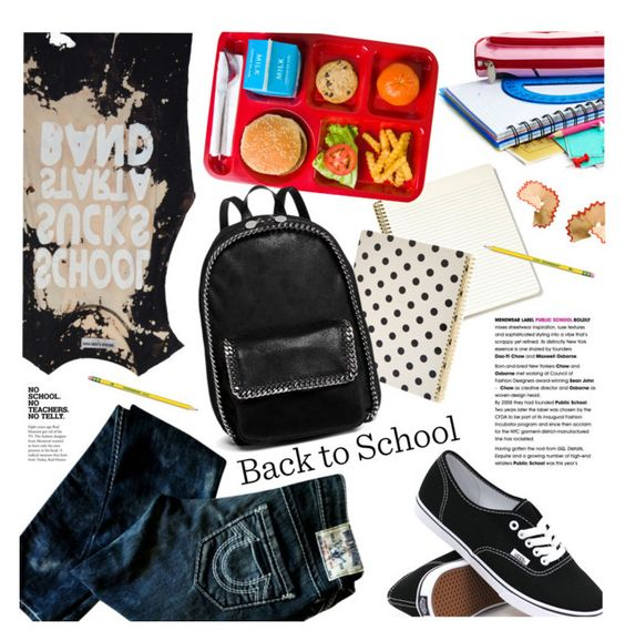 """""""Back to School: New Shoes"""" by houseofhauteness ❤ liked on Polyvore featuring Vans, True Religion, Kate Spade, Dixon Ticonderoga, STELLA McCARTNEY and INDIE HAIR"""
