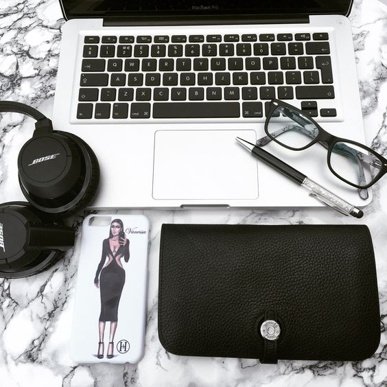 Monochrome Monday : Fashionista Phone Case, Hermes, Mac, Bose, Ray Ban Flatlay