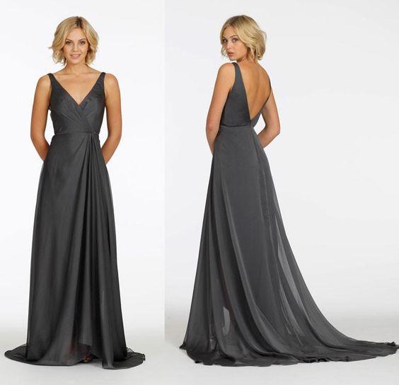 gunmetal grey bridesmaid dress