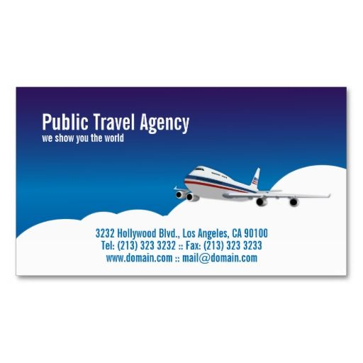 Pilot or travel agency business card template pilot for Travel agent business card