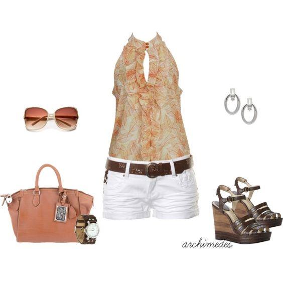 Peachy, Summer Ruffles, created by archimedes16: Summer Ruffles, Fashion Style, Summer Outfits, Short Shirts, Ruffles Created, Concert Outfit, Outfit White, Peachy Summer