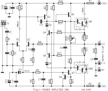 30w audio power amplifier circuit diagram