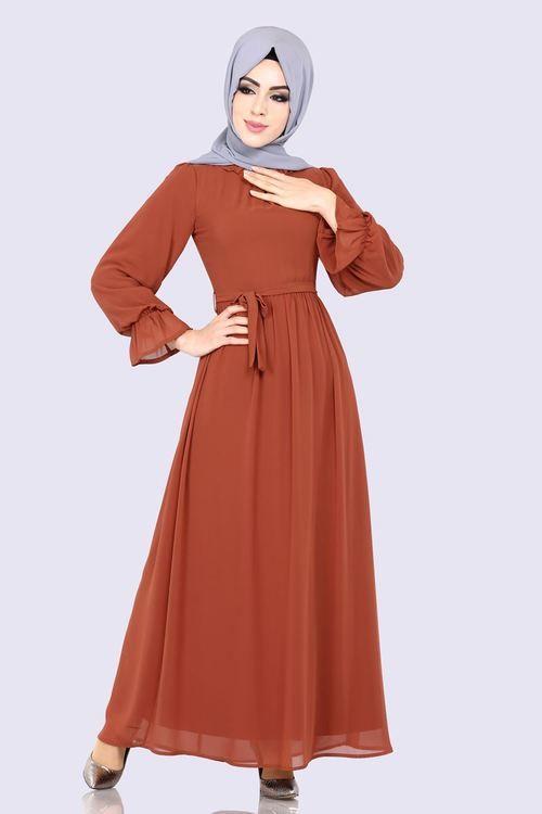 Modaselvim Elbise Kemerli Sifon Elbise 3996mb205 Kiremit Sifon Elbise Elbise Elbise Modelleri