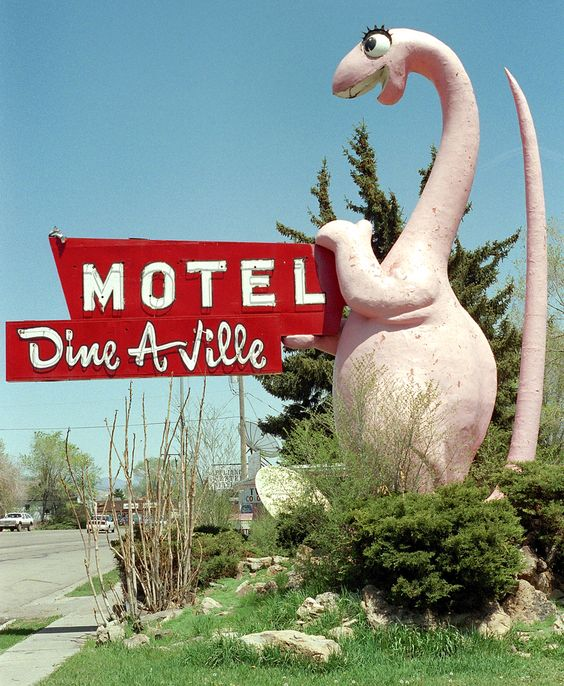 Adorable cartoon dino once advertised a motel; now it welcomes visitors to Vernal, Utah.
