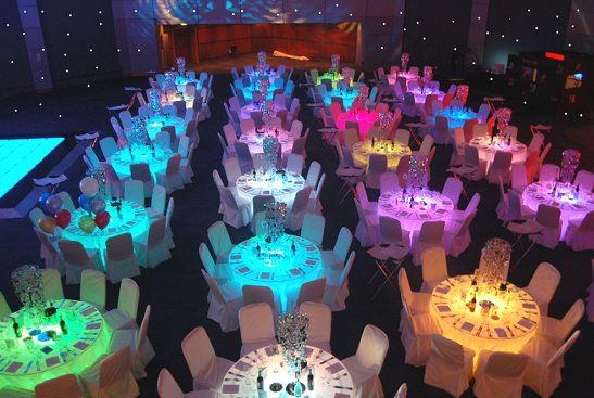 Glow in the Dark wedding Decorations | Colour Changing Side Tables / Seat Cubes