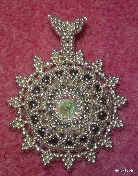 beaded shiny rivoli pendant or brooche for