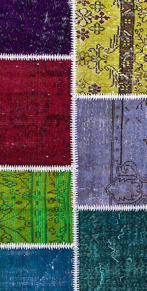 Vintage Patchwork Teppich - mozaiik Unikat Nr. 138TP