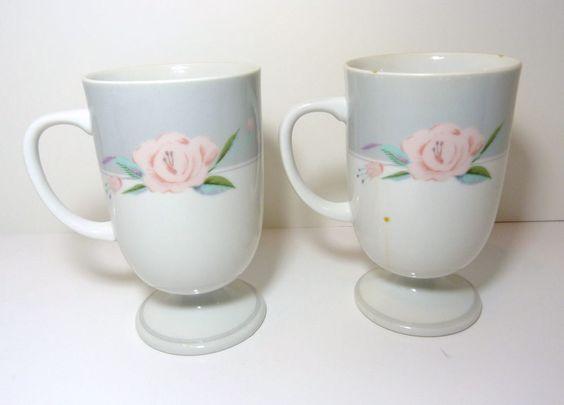 2 Vintage Irish Coffee Footed Mug Saltera Himark Japan Victorian Rose Design 85 #Saltera