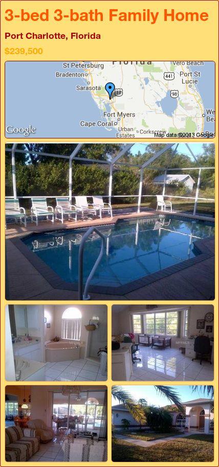 3-bed 3-bath Family Home in Port Charlotte, Florida ►$239,500 #PropertyForSale #RealEstate #Florida http://florida-magic.com/properties/24809-family-home-for-sale-in-port-charlotte-florida-with-3-bedroom-3-bathroom