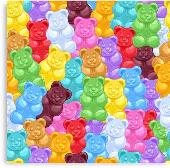 Buy Rainbow Gummy Bear Pattern By Newburyboutique As A T Shirt Classic T Shirt Tri Blend T Shirt Ligh Gummy Bear Candy Seamless Pattern Vector Gummy Bears
