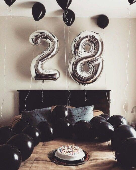 A Stylish 28th Birthday Weekend Birthday Surprise Boyfriend Birthday Surprises For Him Birthday Room Decorations