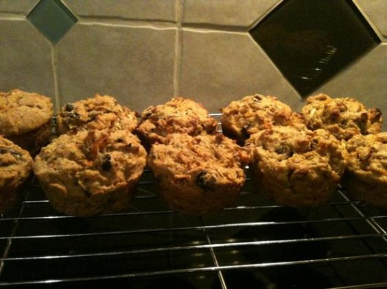 Triple hitter toddler muffins - I added some shredded kale and used honey instead of sugar. Yum!