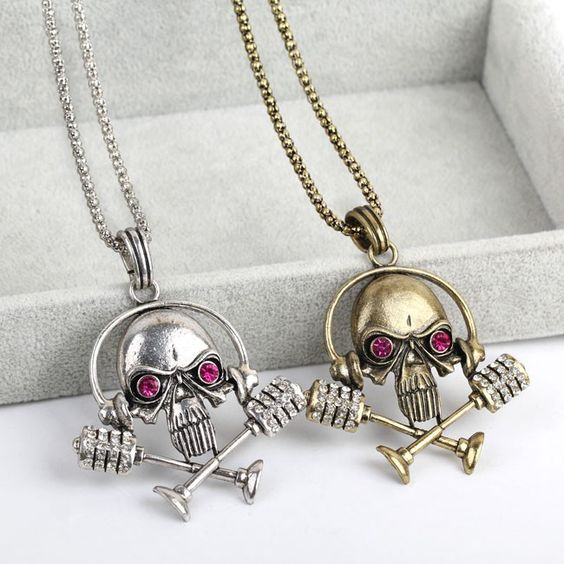 70cm Vintage Skull Shape Sweater Chain Charms Necklace Copper Necklaces