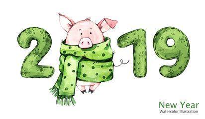 Bannière de bonne année 2019. Cochon mignon en écharpe d'hiver avec des chiffres. Illustration aquarelle Symbole pour les vacances d'hiver. signe du zodiaque. Parfait pour les calendriers et les cartes de fête.  #annee #banniere #bonne #cochon #echarpe #hiver #mignon