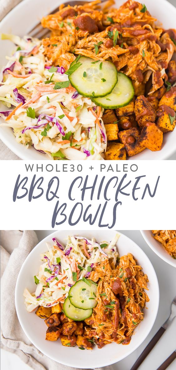 BBQ Chicken Bowls with Sweet Potatoes, Coleslaw, and Pickles